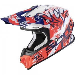 SCORPION VX-16 AIR ORATIO Matt White-Blue-Red